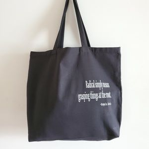 Handbags - Black canvas tote bag, embroidered tote bag